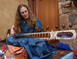 Amie in blue Sari with Sitar